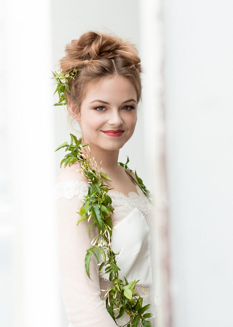 coiffure de mariage et végétaux