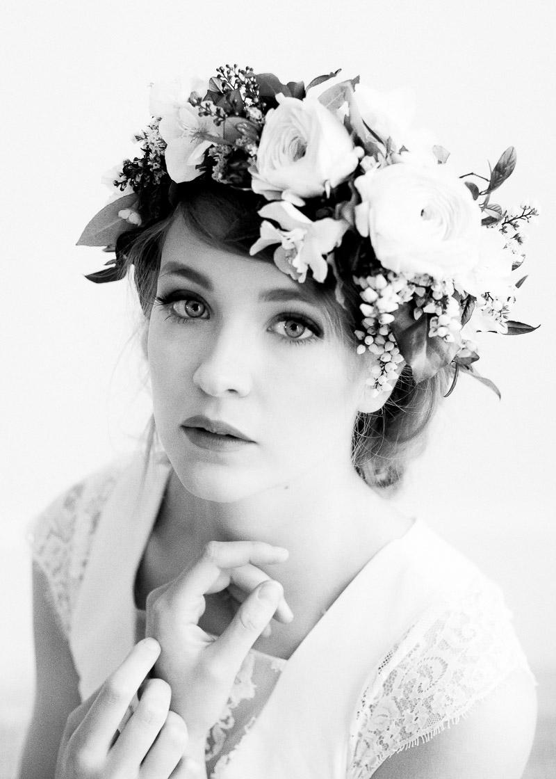 portait mariée noir et blanc