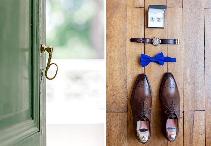 chaussures, montres du mariés préparatif mariage château gaudras