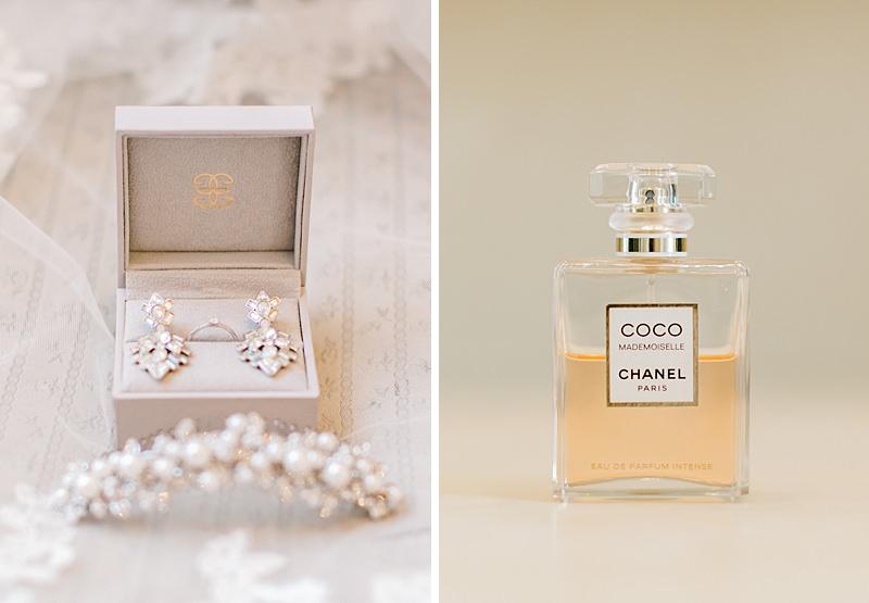 le parfum et les bijoux de la mariée