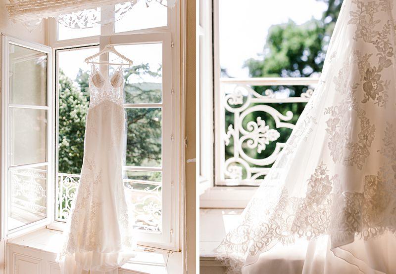 détail de la robe de la mariée en dentelle