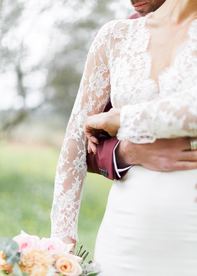 Plan de détail de la robe de la mariée