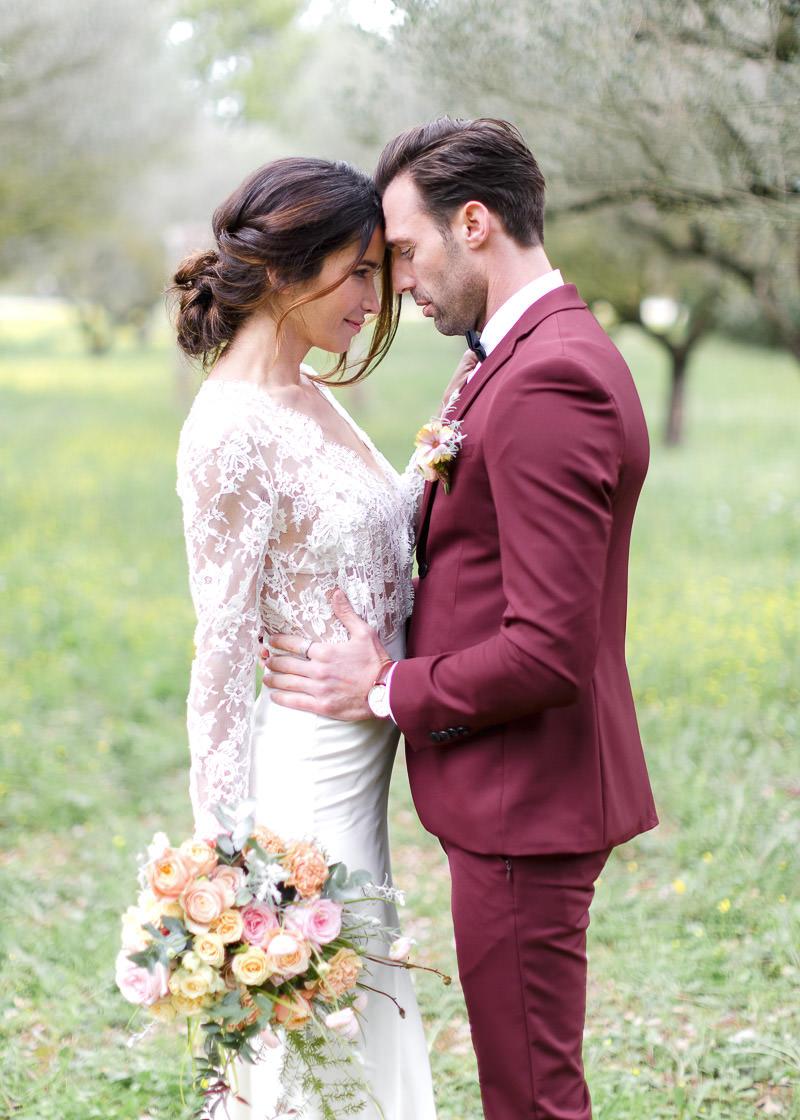 couple de mariés au château de l'aumérade
