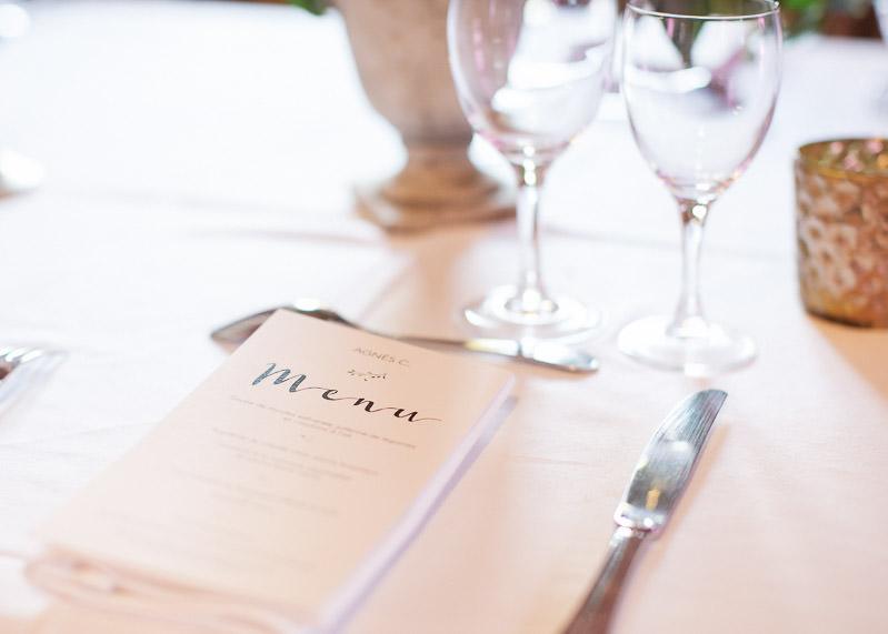 Détail menu mariage chateau du sou