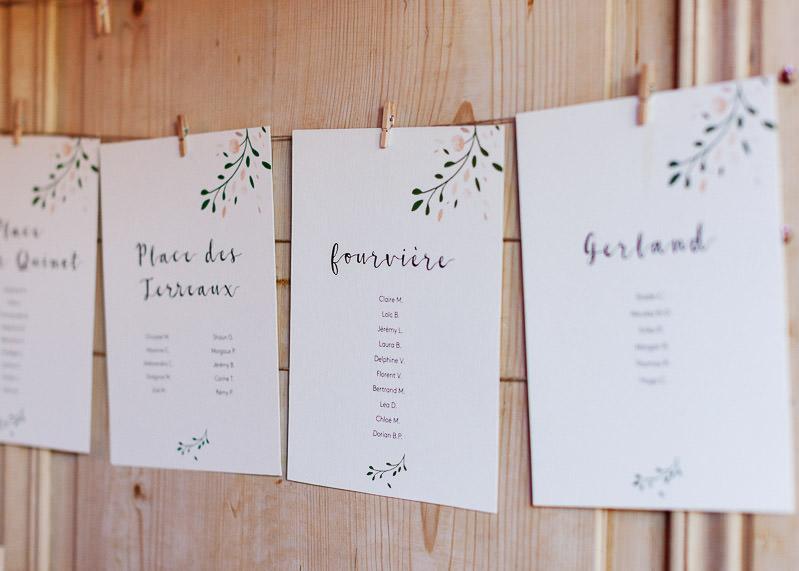 Plan de table mariage chateau du sou