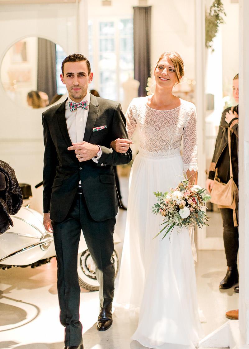 Un couple de mariés au festival du mariage à Lyon