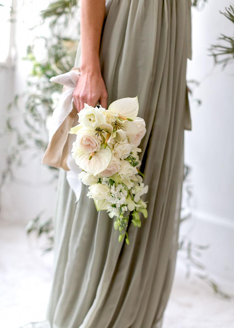 bouquet avec ruban de soie