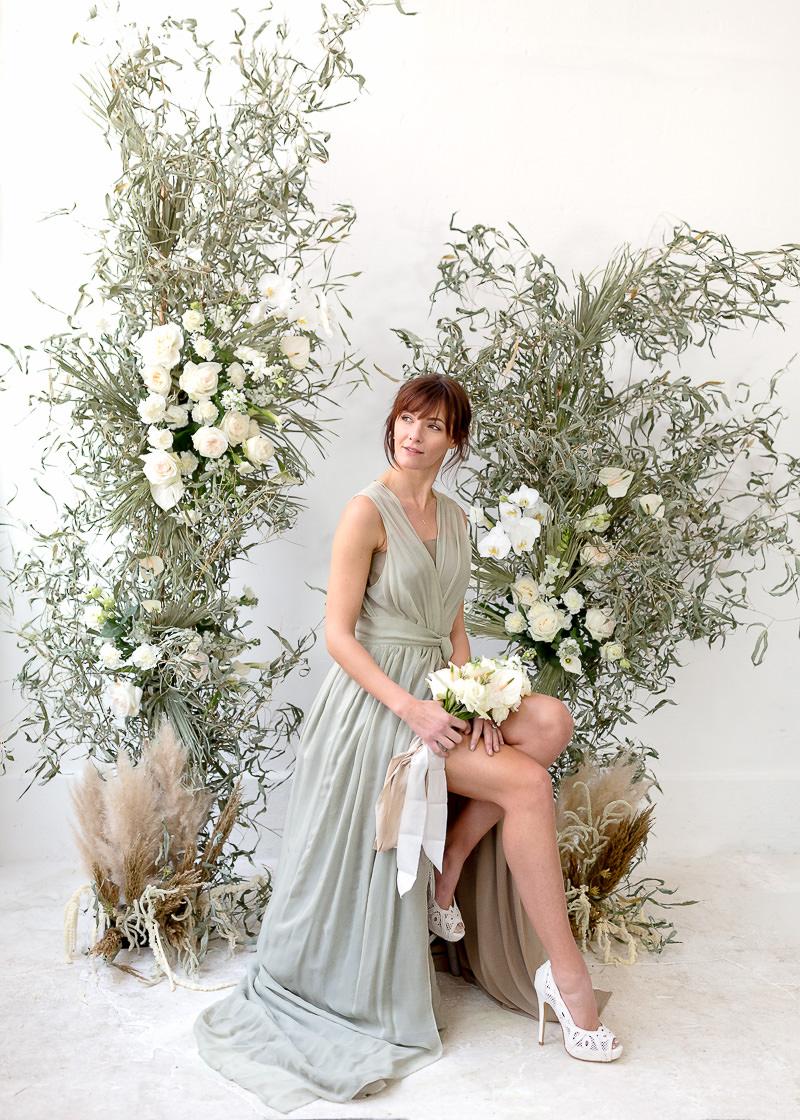 colonne de fleurs de mariage
